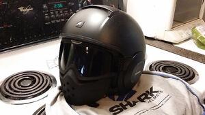Shark Raw Helmet, matt black, worn once, sold bike