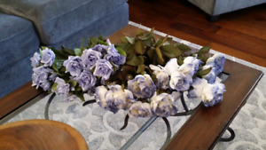 Blue and ivory silk roses