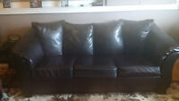 Leather Couch with Hide a Bed and Matching Chair