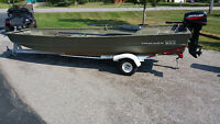 15'  Tracker Jon Boat with 15 hp motor and trailer
