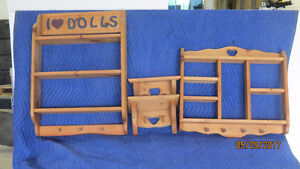 PINE SHELVES and WOODEN TOY LOGGING TRUCKS