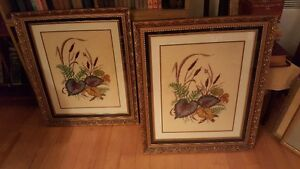 Pair of beautiful large vintage needlepoints in matching frames