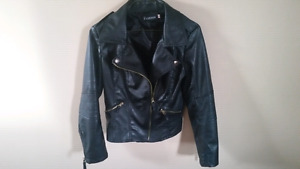Black imitation leather jacket