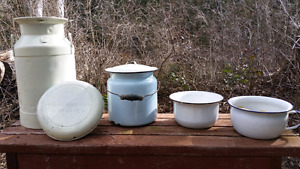 Antique Milk Can and Chamber Pots
