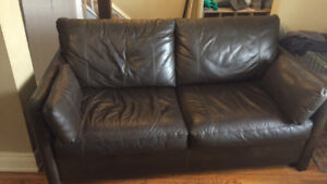 Brown Leather Couch - Sofa bed
