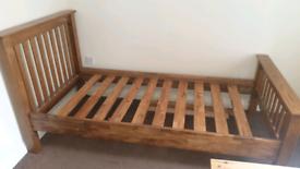 Solid single wood bed frame