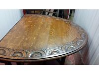 Antique Real Solid Wooden Foldable Dining Table