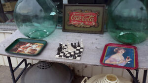 COCA COLA COLLECTION, PLAQUE ,  TRAYS   GLASSES all for $48.00