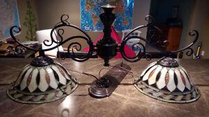 Stained glass game table light fixture