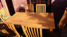 Table & 6 chairs L 151cm x W90cm x H76cm