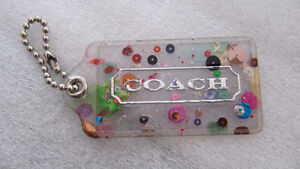 Rare Coach Poppy large spotted plastic purse hang tag/fob