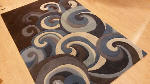 Area Rug with Blue Waves, Excellent Condition
