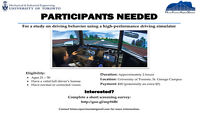 Participants needed for driving simulator study