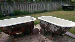two antique cast iron bathtubs for your garden