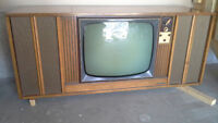 Antique collectible with tv radio turntable