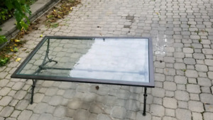 Cast iron/glass coffee table & 2 end tables