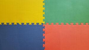 "Interlocking foam floor tile 24""x24"", four colors, $2/piece"