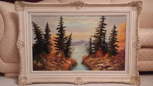 Antique Canadian scenery oil painting