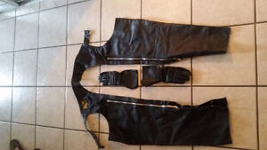 Woman's leather chaps and gloves