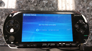 Black psp with charger