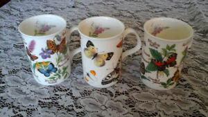 FINE BONE CHINA MUGS - BUTTERFLY GARDEN, ROY KIRKHAM