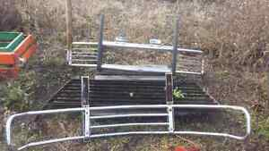 Two Stainless Truck Bumpers & Louvered Steel Headache Rack