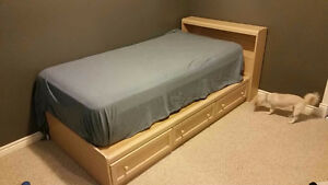 Single Captain's bed, headboard, with mattress and sheets