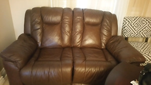 Genuine recliner leather couch and love sit for sale