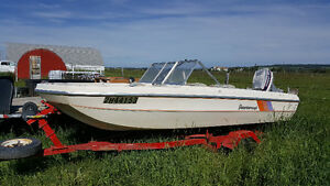 Peterborough Tri Hull with 50HP Evinrude and trailer
