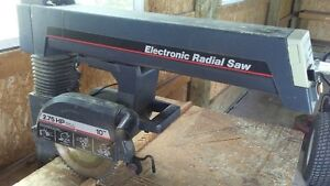 "10"" Radial Arm Saw and table"
