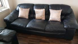 Black leather sofa 3 piece and 2 piece