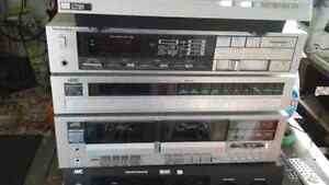 Vintage Technics amp, JVC tuner and double tape deck, turntable