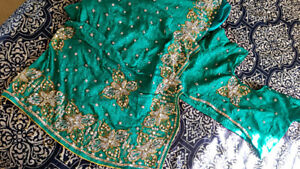 Green Printed Saree, with stitched blouse