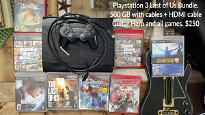 Last of us 500gb PS3, Guitar Hero + 7 games.