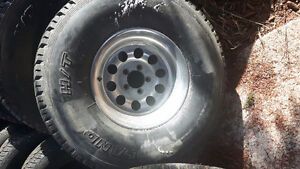 Set of 33×12.50R15 with rims