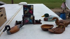 Duck Person Alert!! Hand Painted Ducks + Dishes Bookends Strathcona County Edmonton Area image 1