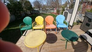Vintage Metal Shell Back Chairs & Tables