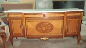 Antique Marble Top French Transition Sideboard w Lots of Storage