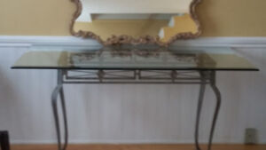 Glass Top Dining Table - bevelled edges.  Heavy metal bottom, in