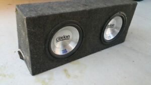 2 10in clarion subwoofers in box