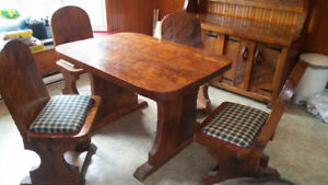 Rustic style Table, Chairs and matching Hutch