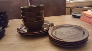 chocolate brown plates and bowls