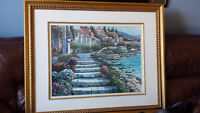 MEDITERRANEAN BEACH PAINTING WITH FRAME