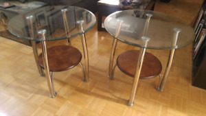 Two Glass Top Side Tables