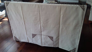 Vintage Off-White Tablecloth with Brown Embroidery