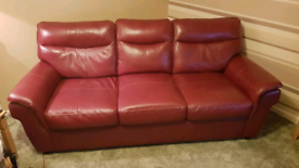 SCS 3 SEATER RED LEATHER SOFA