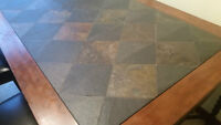 Hand Made Slate top table and 6 Leather Persons Chairs