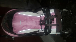 Brown and pink color stroller