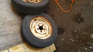PAIR 14 INCH RIMS AND TIRES