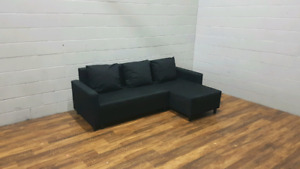 Free delivery: Black Ikea Sofabed Sectional with chaise